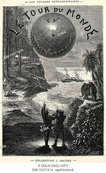 Around the World in 80 Days, title page for the 1873 edition of the novel by Jules Verne (1828-1905)