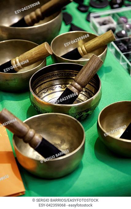 Handmade Tibetan bowls, traditional container detail, zen
