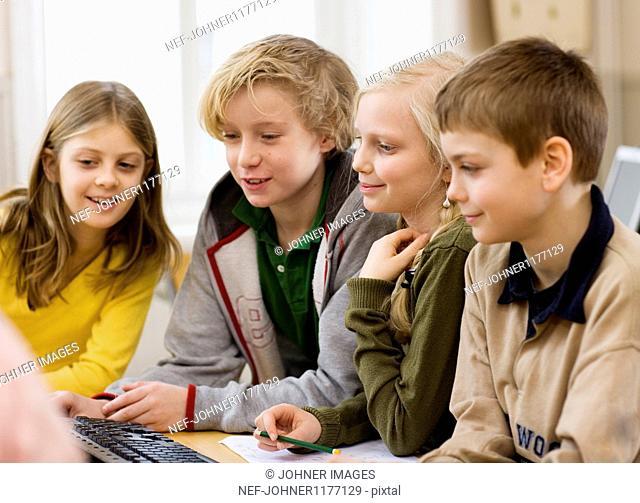 Children working on computer