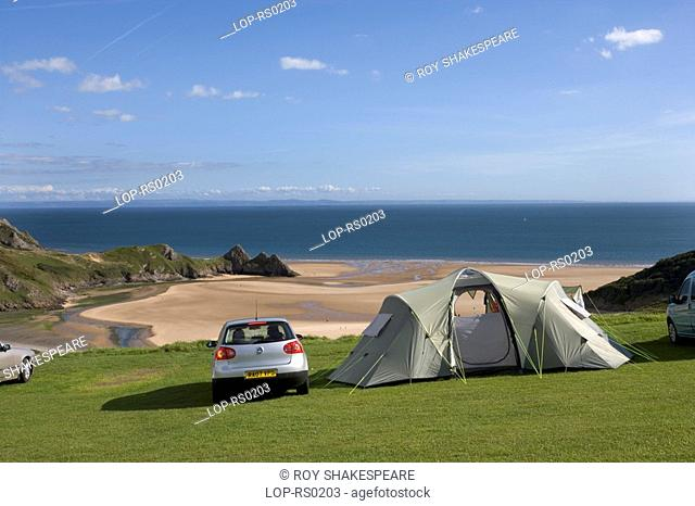 The view from Three Cliffs Bay caravan and camping site. Voted Best View in Wales by Country Life Magazine in July 2002, it is situated at the cliff top with...