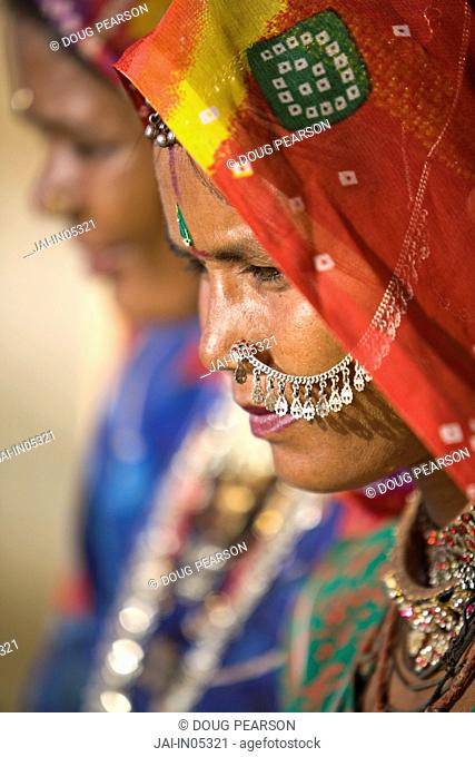Portrait of Young Women in Traditional Dress, Jaisalmer, Rajasthan, India, MR