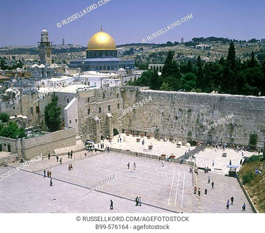 Western 'wailing' Wall & Omar Mosque, Jerusalem, Israel