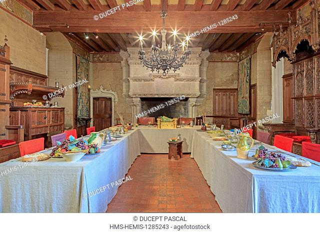 France, Indre et Loire, Loire Valley listed as World Heritage by UNESCO, Langeais, the castle of Langeais, the banquet room