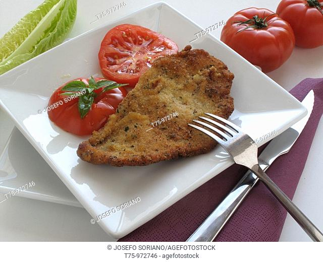 Escalope with tomato and mint