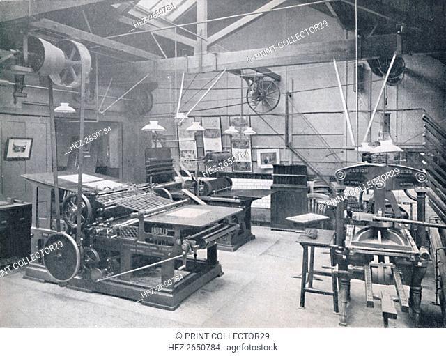 'St. Bride Foundation School. Letterpress Machine Room', 1917. Artist: Unknown