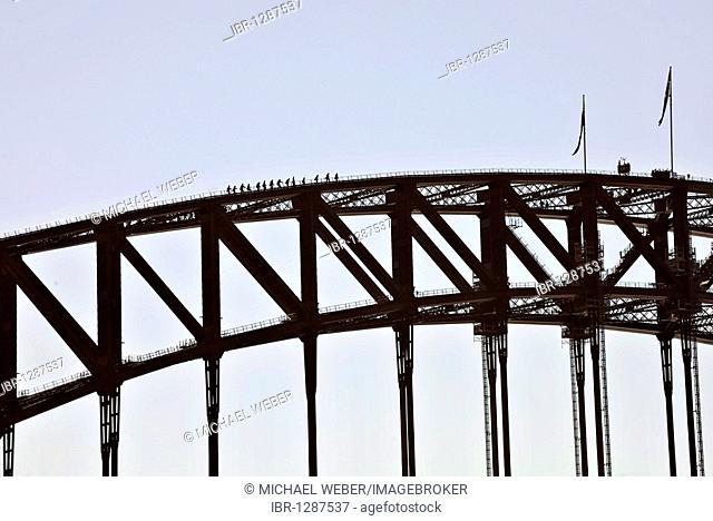 Tourists taking the Sydney Harbor Bridge Climb Tour, Sydney, New South Wales, Australia