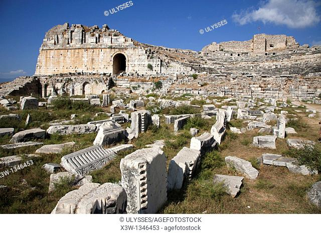 theatre, archeological area, miletus, southern aegean coast, turkey, asia