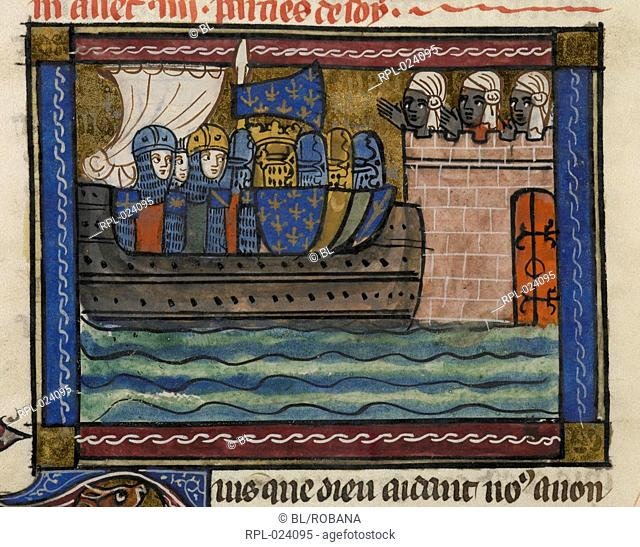 Crusaders before a Saracen town, Detail King of France and crusaders, on a ship, approaching a fortress manned by Saracens, with, below