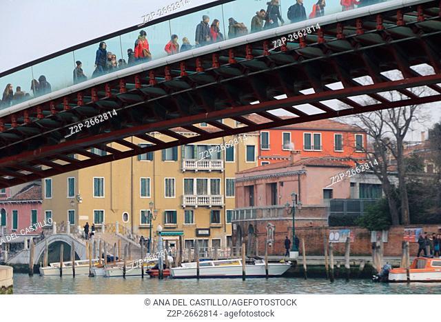 Canal Grande on January 24, 2016 in Venice, Italy. Constitution bridge by Santiago Calatrava