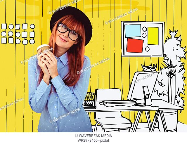 Millennial woman with coffee against yellow hand drawn office