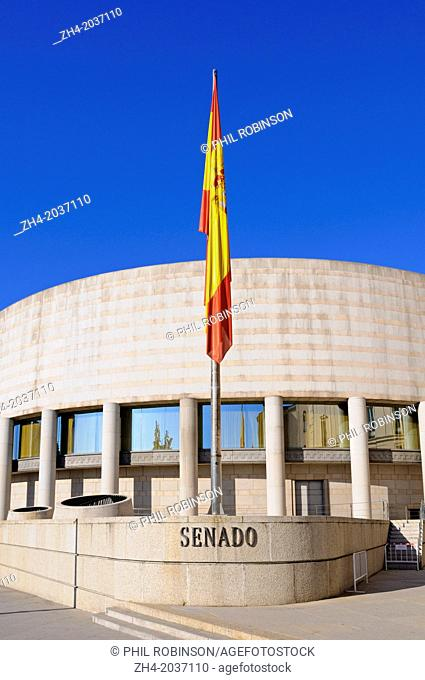 Madrid, Spain. The Senate / Senado on Calle de Bailen - modern wing added 1987