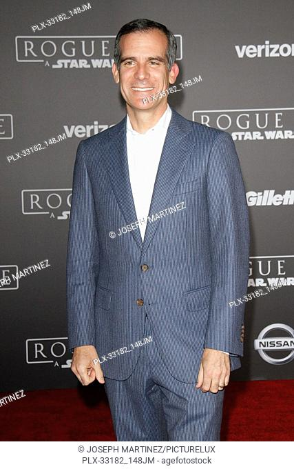 """Mayor Eric Garcetti at the world premiere of """"""""Rogue One: A Star Wars Story"""""""" held at the Pantages Theatre in Hollywood, CA, December 10, 2016"""