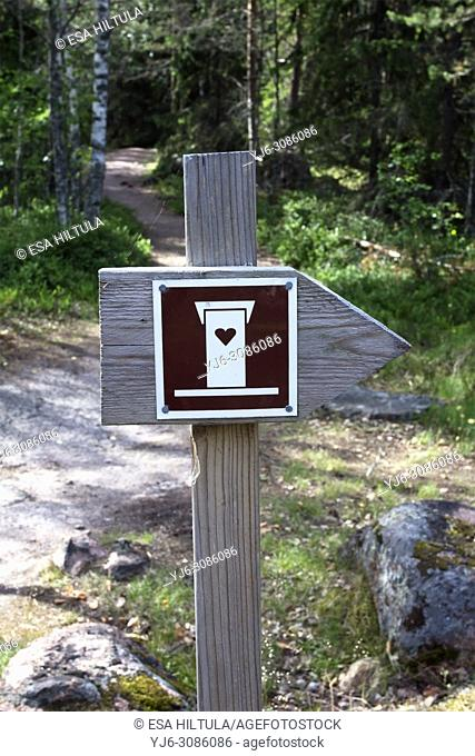 Toilet sign at Valkmusa National Park, Pyhtää Finland