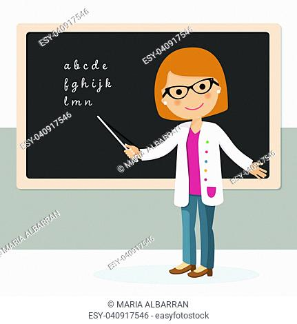 Young female teacher on alphabet lesson at blackboard in classroom. Teacher with pointer, teacher showing on board. Vector illustration