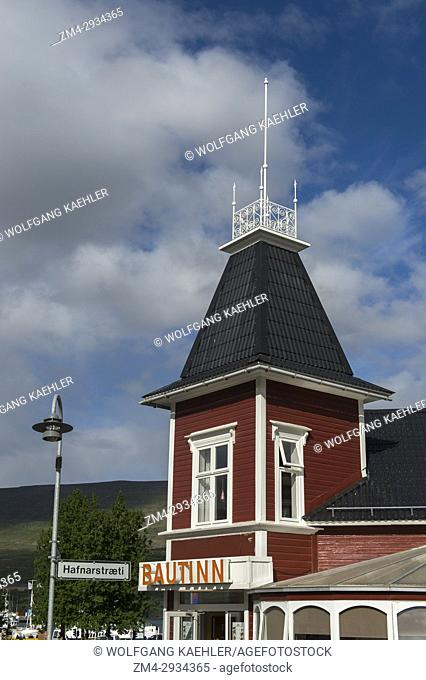 Old houses in the city center of Akureyri, northern Iceland