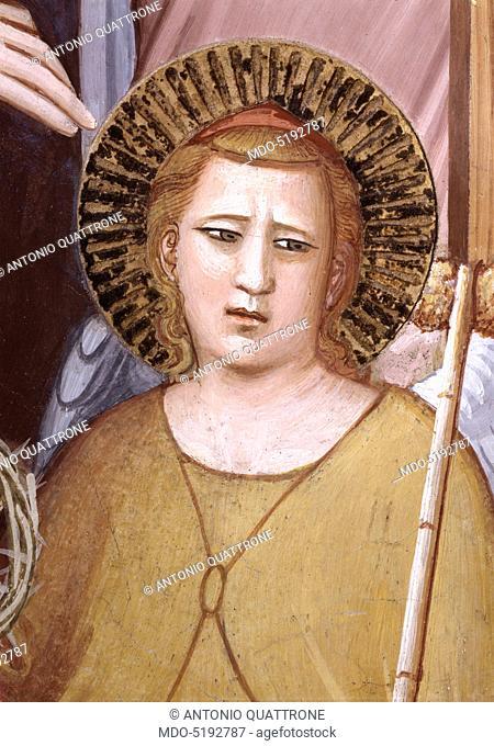 Judgement and Bettino de' Bardi Genuflected (Giudizio finale e Bettino de' Bardi inginocchiato), by Maso di Banco, 1347, 14th Century, fresco