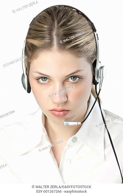 A friendly secretary/telephone operator in an office environment