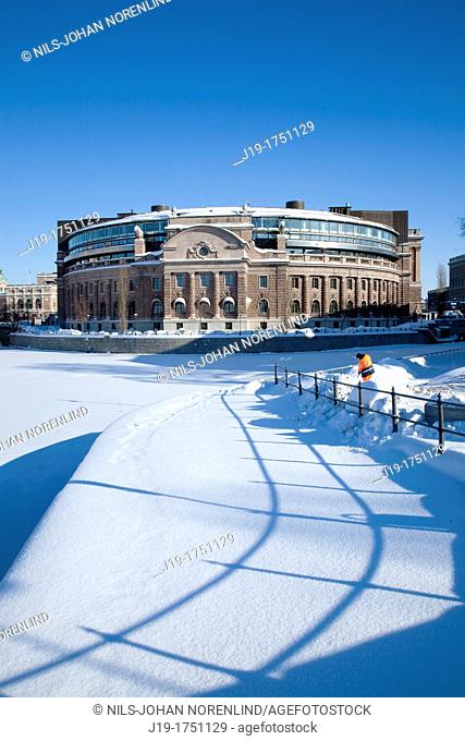 Winter,Parliament House Stockholm Sweden