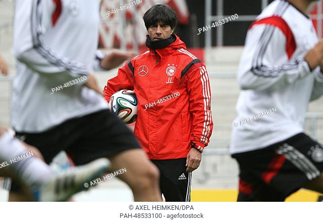 German national soccer team manager Joachim Loew conducts the final pre-match training session of the German national soccer team at Millerntor Stadium in...