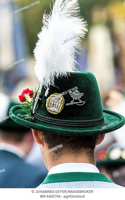 Green hat with brim, plume, badges, green traditional jacket, men's costume, Oktoberfest, Munich, Upper Bavaria, Bavaria, Germany