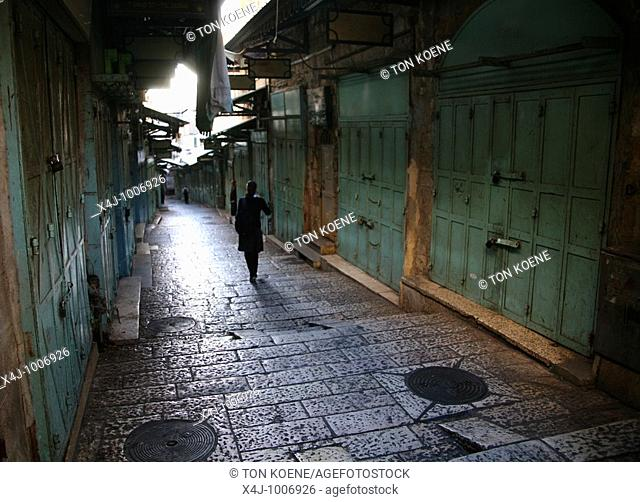 A quiet alleyway at a market in the old city section of Jerusalem