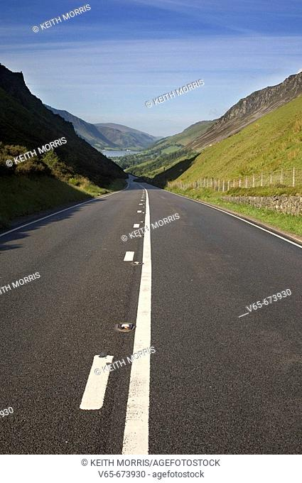 The A487 trunk road near Talyllyn Lake, Gwynedd, Snowdonia National Park, North Wales. No traffic, early morning in the summer