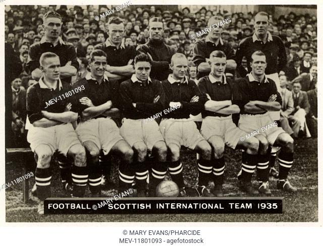 Scottish International FC football team 1935. Back row: Massie, Anderson, Jackson, Cummings, Simpson (Captain). Front row: Delaney, Walker, Armstrong, Brown