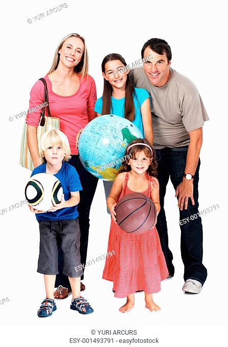 Full length of happy family on vacation over white background