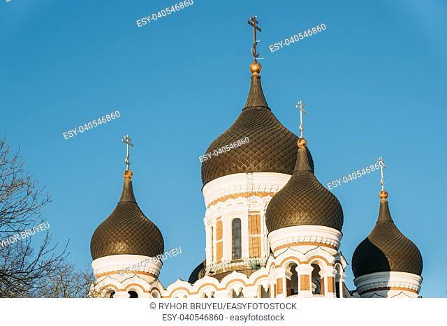 Tallinn, Estonia. Domes Of Alexander Nevsky Cathedral Is Orthodox Cathedral In Tallinn Old Town, Largest And Grandest Orthodox Cupola Cathedral