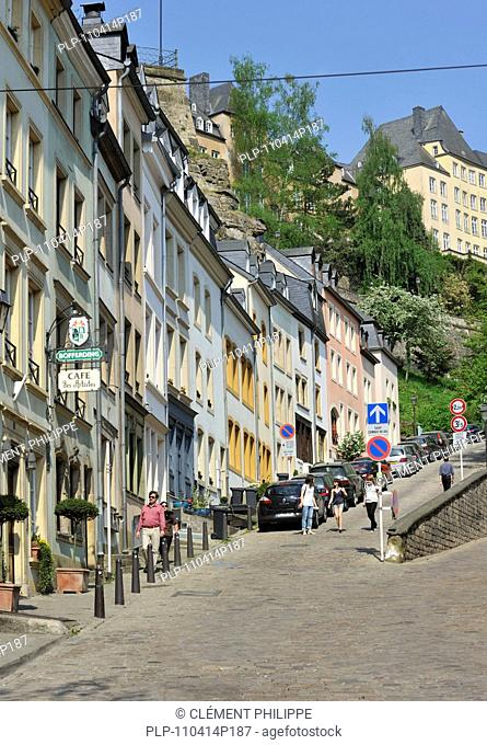 Street leading to the Ville Haute in Luxembourg, Grand Duchy of Luxembourg