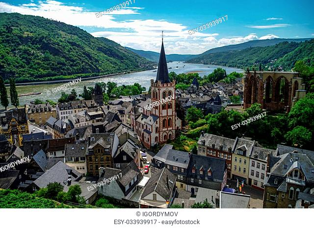 Medieval village Bacharach. City panorama from hill, covered by vineyard. Rhine valley, Germany