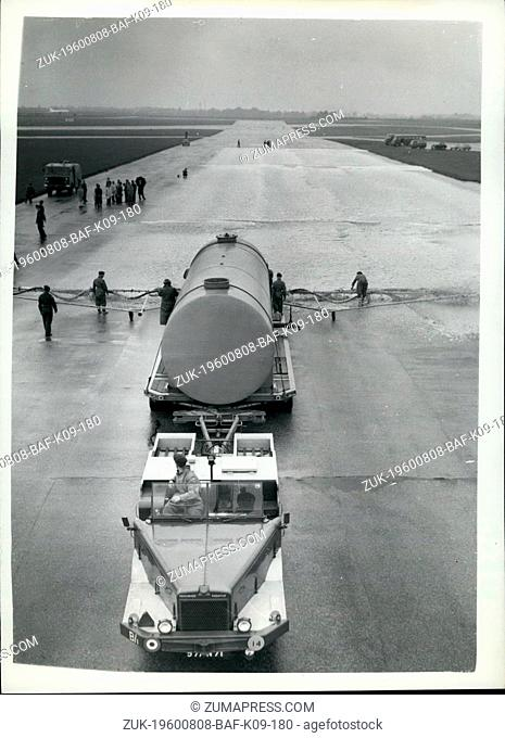 Aug. 08, 1960 - Carpeting a runway with foam to aid aircraft making a wheels-up landing: A revolutionary system for carpeting a runway with foam to aid aircraft...