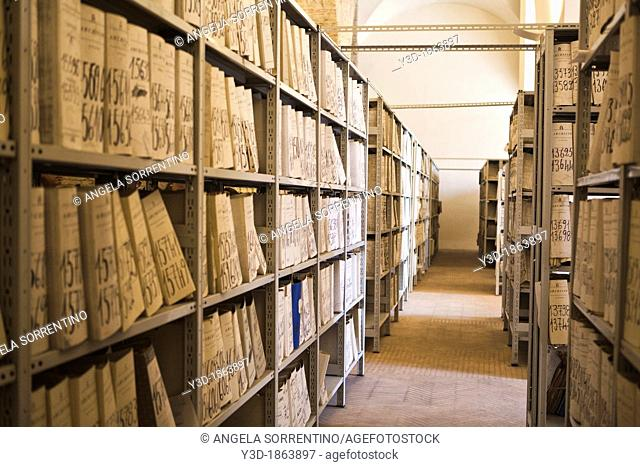 Many folders in an old archive of National Library of Naples, Italy
