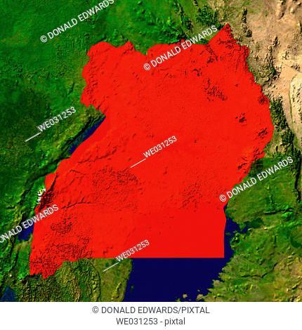 Highlighted satellite image of Uganda