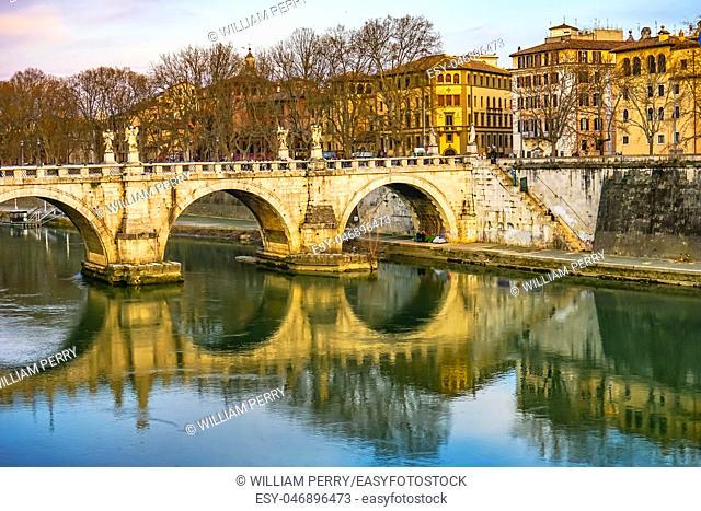 Ponte Bridge Saint Angelo Tiber River Reflection Rome Italy. Bridge first built by Emperor Hadrian in 134AD