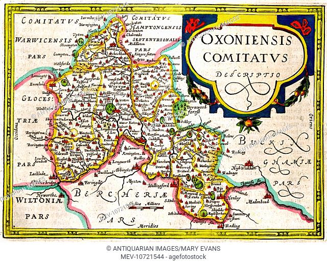 17th century Map of Oxford and Oxfordshire, England