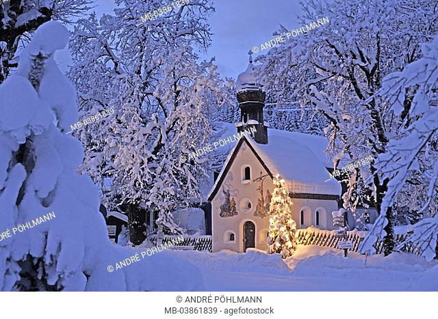 Germany, Bavaria, Klais, chapel, Christmas-tree, illuminates, outside, evening, twilight, twilight, church, small, belief, religion, illumination, tree