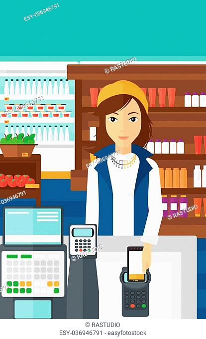 A woman paying with his smartphone using terminal on the background of supermarket shelves with products vector flat design illustration