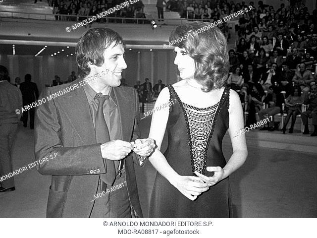 Italian singer Mina (Anna Maria Mazzini) with Italian singer and actor Adriano Celentano during the reharsal of TV show Teatro 10. 1972