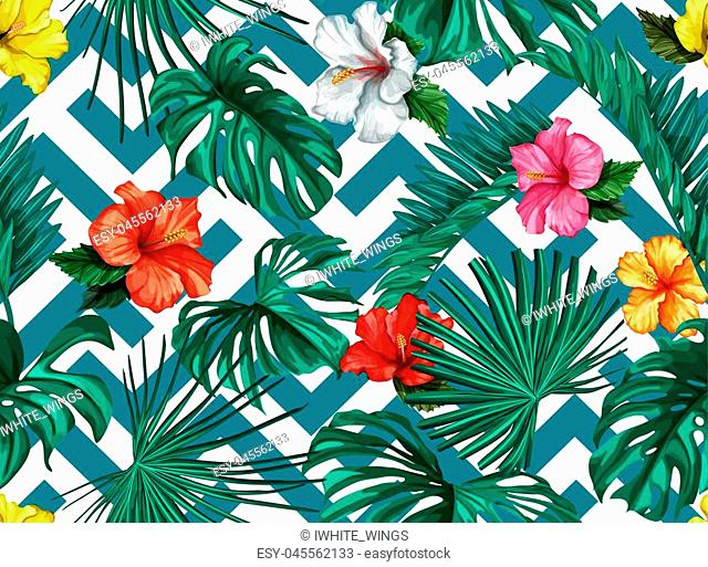 Vector tropical leaves hibiscus flower blossom summer seamless pattern geometric background template. Jungle forest palm monstera floral exotic plant aloha...