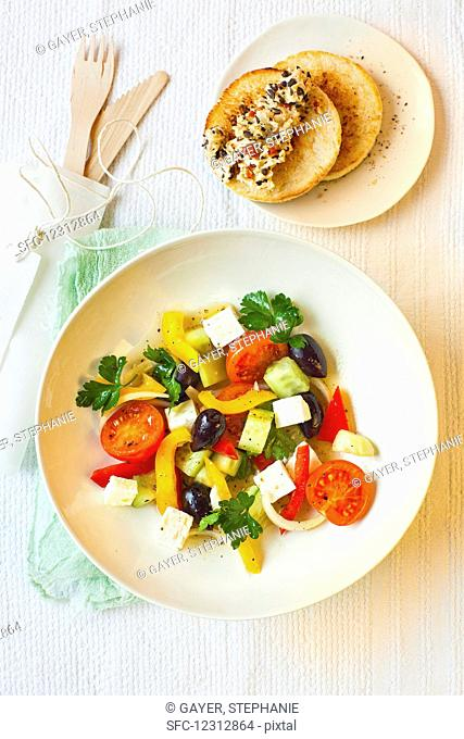 Greek salad with olive butter