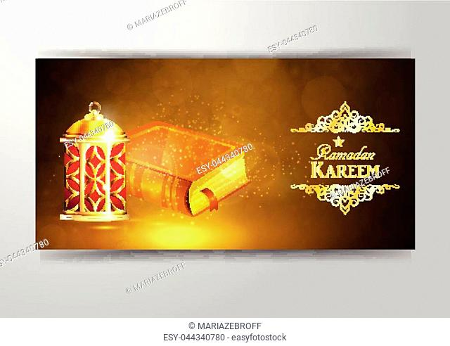 Islamic religious book Quran Shareef with rosary shining in the lantern s light bokeh background for Islamic holy month of prayers, Ramadan Kareem celebration