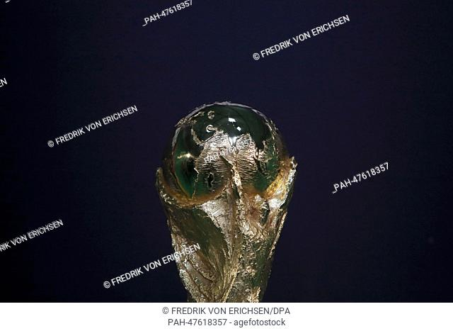 The FIFA World Cup trophy is on display during a press date as part of the FIFA World Cup Trophy tour in Frankfurt Main, Germany, 02 April 2014