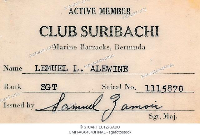 Club Suribachi membership card for club at United States Marine barracks in Bermuda, issued to a Lemuel L Alewine, 1964