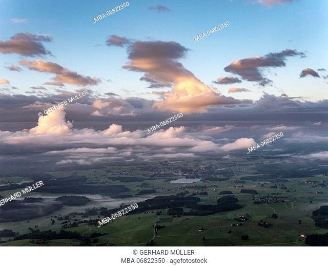 Clouds and sunrise above Upper Swabia