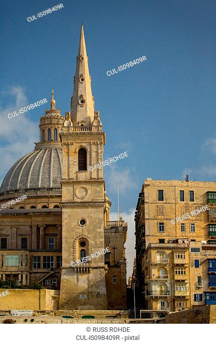 Dome of carmelite church and St Paul's Pathedral, Valletta, Malta
