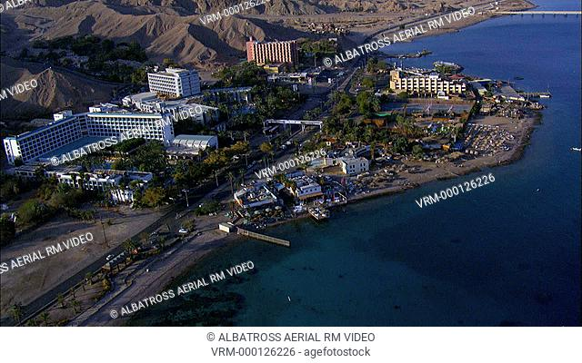 Aerial footage of the south beach and Hotels in the Red Sea ,Gulf of Eilat
