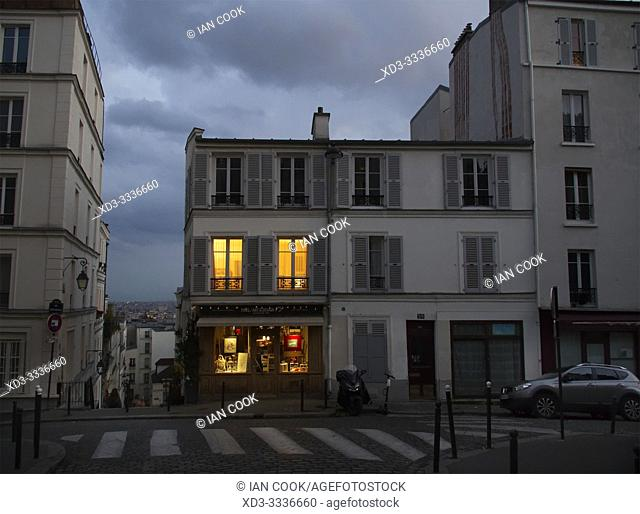 lighted windows, Montmartre, Paris, France