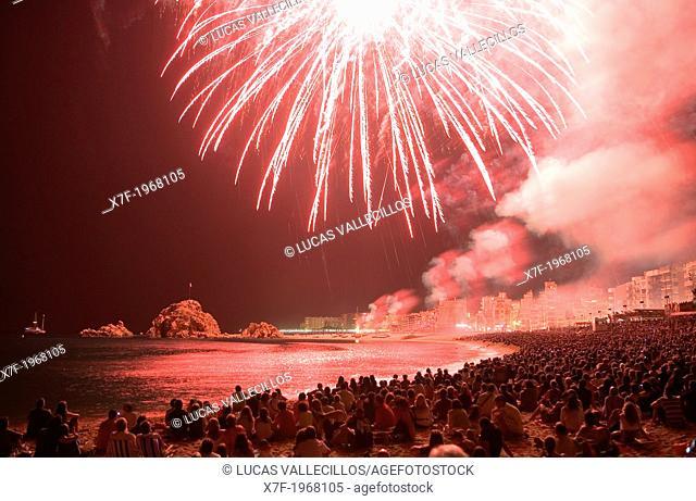 Blanes.contest of fireworks. Costa Brava. Girona province. Catalonia. Spain