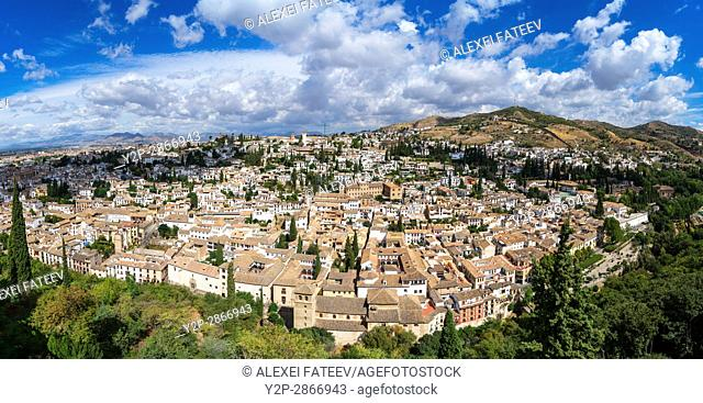 Panoramic view of Granada town from Alhambra